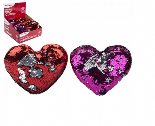 20CM SEQUIN HEART CUSHION  WITH SILVER MERMAID EFFECT